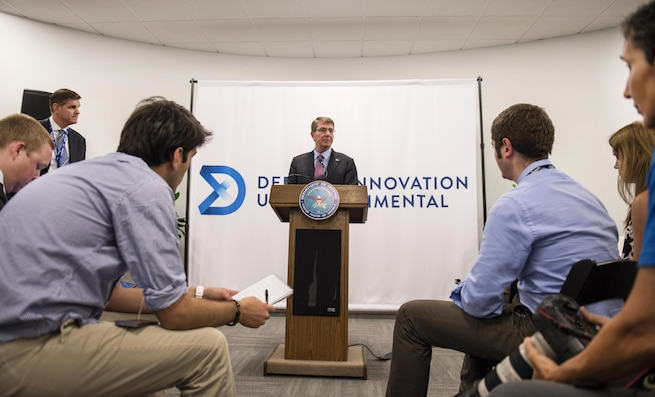 Defense Secretary Ash Carter holds a news conference at the new Defense Innovation Unit Experimental, or DIUx, office in Boston, July 26, 2016. DoD photo by Air Force Tech. Sgt. Brigitte N. Brantley