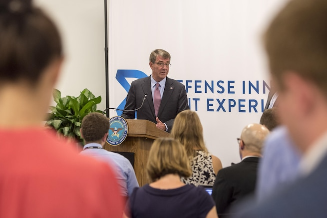 Defense Secretary Ash Carter answers a question during a news conference at the new Defense Innovation Unit Experimental, or DIUx, office in Boston,  July 26, 2016. DoD photo by Air Force Tech. Sgt. Brigitte N. Brantley