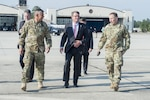 Defense Secretary Ash Carter, center,  meets with Army Lt. Gen. Stephen Townsend, left, XVIII Airborne Corps commanding general, and Army Gen. Robert Abrams, right, U.S. Army Forces Command commander, upon arriving at Fort Bragg, N.C., July 26, 2016. DoD photo by Air Force Tech. Sgt. Brigitte N. Brantley
