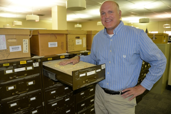Steve Essex,  the inactive/active records officer for the New York Army National Guard Military Personnel Office with the index cards which indicate which former National Guard Soldiers have paper records stored by the New York State Archives on Monday, July 18, 2016. Essex accesses records dating back to 1945 to assist former National Guard Soldiers in finding their state service records.