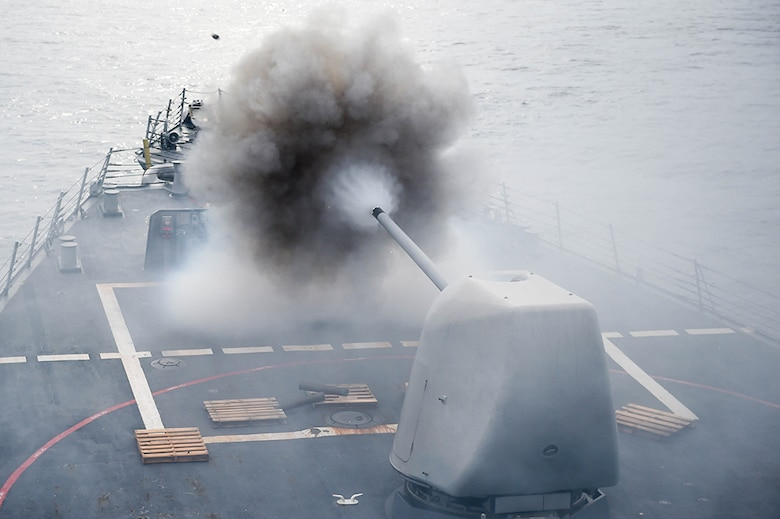 The Arleigh Burke-class guided-missile destroyer USS Stethem (DDG 63) conducts a firing exercise of the MK 45/5-inch lightweight gun at a surface target during Cooperation Afloat Readiness and Training (CARAT) Singapore 2016, July 26. CARAT is a series of annual maritime exercises between the U.S. Navy, U.S. Marine Corps and the armed forces of nine partner nations to include Bangladesh, Brunei, Cambodia, Indonesia, Malaysia, the Philippines, Singapore, Thailand, and Timor-Leste.