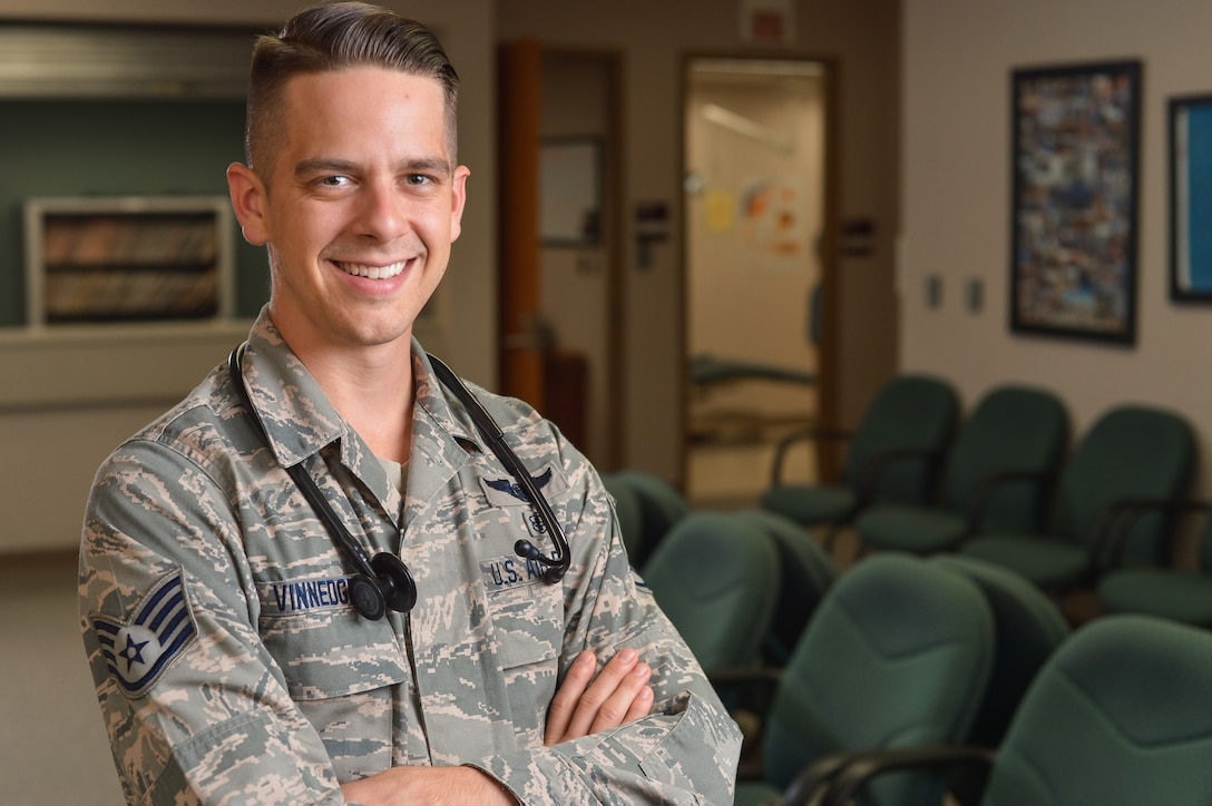 Staff Sgt. Jay Vinnedge stands in the waiting room of the 137th Medical Group clinic at Will Rogers Air National Guard Base in Oklahoma City, June 9, 2016. Vinnedge was one of about 60 U.S. students to be named as a 2016 Tillman Scholar and scholarship recipient. (U.S. Air National Guard photo by Senior Airman Tyler Woodward/Released)