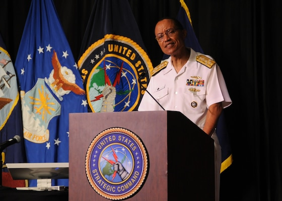 LA VISTA, Neb. (July 27, 2016) U.S. Navy Adm. Cecil D. Haney, U.S. Strategic Command (USSTRATCOM) commander, welcomes attendees to the seventh annual USSTRATCOM Deterrence Symposium, La Vista, Neb., July 27, 2016. During the two-day symposium, industry, military, governmental, international and academic experts held discussions to promote collaboration on global deterrence. One of nine DoD unified combatant commands, USSTRATCOM has global strategic missions assigned through the Unified Command Plan, which include strategic deterrence; space operations; cyberspace operations; joint electronic warfare; global strike; missile defense; intelligence, surveillance and reconnaissance; combating weapons of mass destruction; and analysis and targeting. (DoD photo by Steve Cunningham/Released)