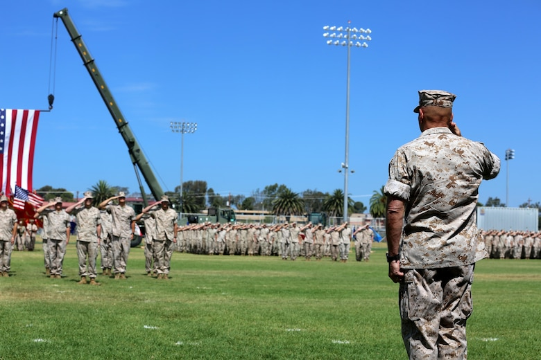 Gen. Robert Neller, commandant of the Marine Corps, salutes during the I Marine Expeditionary Force change of command ceremony at Camp Pendleton July 27, 2016. During the ceremony, Lt. Gen. David H. Berger relinquished his duties as the commanding general of I MEF to Lt. Gen. Lewis A. Craparotta. (U.S. Marine Corps photo by Cpl. Garrett White/ RELEASED)