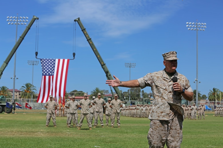 """Gen. Robert Neller, commandant of the Marine Corps, speaks to Marines, Sailors and families in attendance during a change of command ceremony at Camp Pendleton July 27, 2016. """"He's made the Marine Corps a better warfighting organization, which at the end of the day is what we're all about,"""" said Neller. """"We can go help people and rescue them, to defeat our nation's enemies, and that's what we do. We assure our friends and deter our adversaries.""""  During the ceremony, Lt. Gen. David H. Berger relinquished his duties as the commanding general of I MEF to Lt. Gen. Lewis A. Craparotta. (U.S. Marine Corps photo by Cpl. Garrett White/ RELEASED)"""