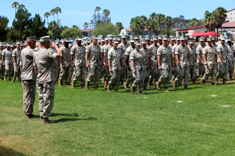 Lt. Gen. Lewis A. Craparotta, the incoming commanding general of I Marine Expeditionary Force, and Lt. Gen. David H. Berger, the outgoing commanding general of I MEF, review the battalion during a change of command ceremony at Camp Pendleton July 27, 2016.  During the ceremony, Berger relinquished his duties as the commanding general of I MEF to Craparotta. Berger is set to become the next U. S. Marine Forces Pacific commander in August of 2016. (U.S. Marine Corps photo by Cpl. Demetrius Morgan/ RELEASED)