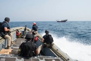 160627-N-VS214-404 ARABIAN GULF (June 27, 2016) The visit, board, search and seizure team from the dock landing ship USS Harpers Ferry (LSD 49) approaches a dhow for a welfare check on the crew. Harpers Ferry is part of the Boxer Amphibious Ready Group and, with the embarked 13th Marine Expeditionary Unit, is deployed in support of maritime security operations and theater security cooperation efforts in the U.S. 5th Fleet area of operations. (U.S. Navy photo by Mass Communication Specialist 3rd Class Zachary Eshleman/Released)