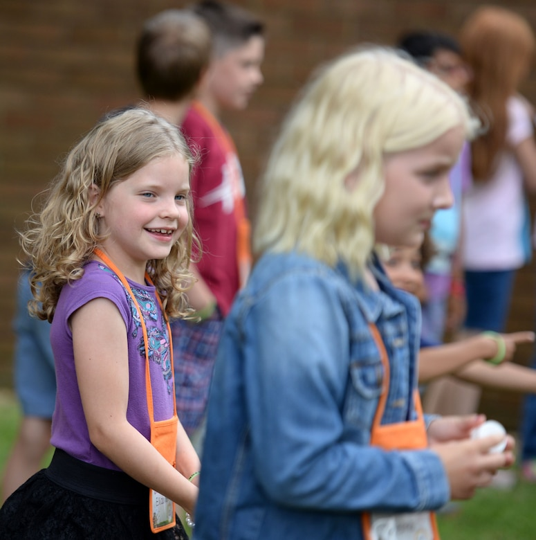 Team Mildenhall children take part in outdoor games during Vacation Bible School July 25, 2016, outside the chapel on RAF Mildenhall, England. This annual event educates children so they can build stronger spiritual foundations. (U.S. Air Force photo by Gina Randall)