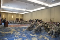 Defense Secretary Ash Carter speaks to deploying soldiers during a visit to Fort Bragg, N.C., July 27, 2016. DoD photo by Air Force Tech. Sgt. Brigitte N. Brantley