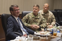 Defense Secretary Ash Carter, left, meets with deploying soldiers during a visit to Fort Bragg, N.C., July 27, 2016. DoD photo by Air Force Tech. Sgt. Brigitte N. Brantley