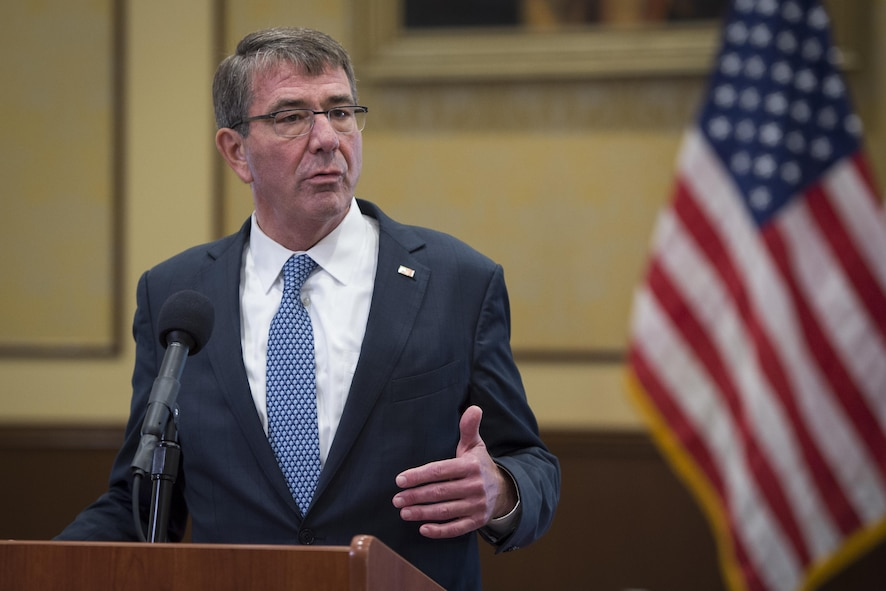 Defense Secretary Ash Carter hosts a news conference.