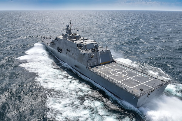 160714-N-RA705-001 MARINETTE, Wisconsin (July 14, 2016) The future USS Detroit (LCS 7) conducts acceptance trials. Acceptance trials are the last significant milestone before delivery of the ship to the Navy, which is planned for later this fall.