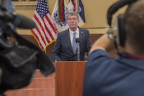 Defense Secretary Ash Carter holds a news conference during a visit to Fort Bragg, N.C., July 27, 2016. DoD photo by Air Force Tech. Sgt. Brigitte N. Brantley