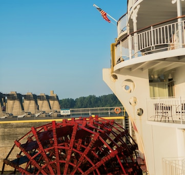 The American Queen locks through the Newburgh Locks and Dam on the Ohio River at Newburgh, Indiana.