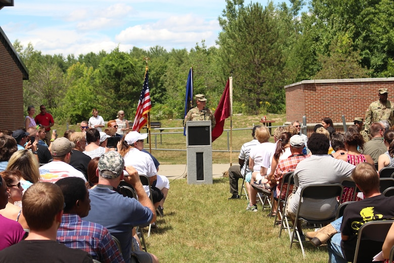 U.S. Army Reserve Capt. Paul Harrigan of the 456th Area Support Medical Company (ASMC), was master of ceremonies during the deployment ceremony for his unit in Somersworth, N.H. on July 16, 2016.  The 456th ASMC are preparing to deploy overseas for nine months to provide at any time up to 72 hours of emergency care and stabilization medical support. (U.S. Army photo by Capt. Charles An/released)