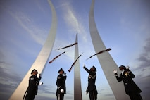 Members of the U.S. Air Force Honor Guard conduct training at the Air Force Memorial in Washington, D.C., July 26, 2016. The vision of the honor guard is to ensure a legacy of Airmen who promote the mission, protect the standards, perfect the image and preserve the heritage of the U.S. Air Force. (U.S. Air National Guard photo/Staff Sgt. Christopher S. Muncy)