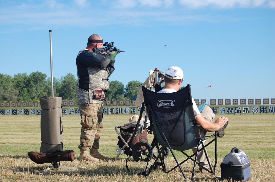 Soldiers from different commands within the United States Army Reserve Command (USARC) competed in multiple events of the Civilian Marksmanship Program (CMP) National championships.  The championships took place at Camp Perry, Ohio and were open to all branches of the military as well as civilians.  During the week, there were different events.  Day one (pictured) was the presidents 100.  This event measured accuracy from distances ranging from 200 meters to 600 meters, and the top 100 of the field are considered the best of the best in the Nation.