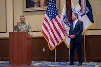 Army Lt. Gen. Stephen Townsend, XVIII Airborne Corps commanding general, introduces Defense Secretary Ash Carter before he talks with deploying troops during a visit to Fort Bragg, N.C., July 27, 2016. DoD photo by Air Force Tech. Sgt. Brigitte N. Brantley
