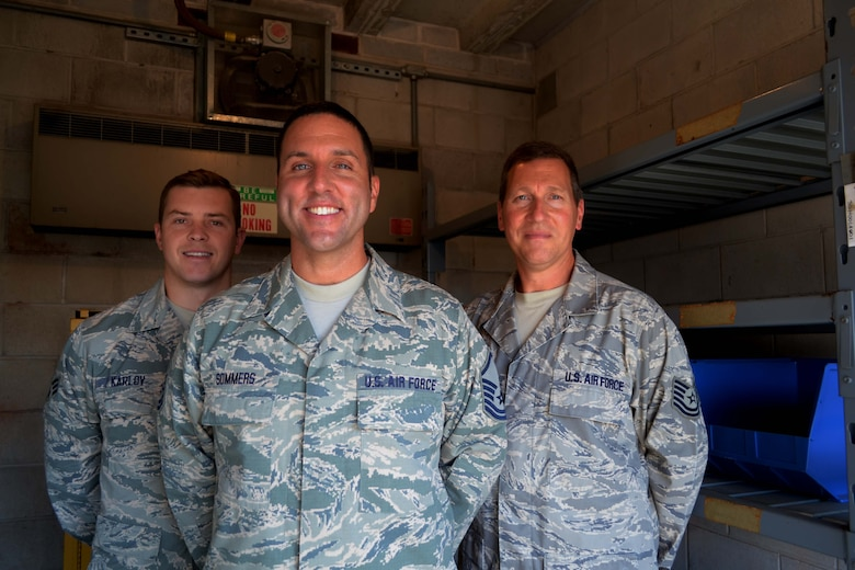 Senior Airman Igor Karlov, Master Sgt. Joe Sommers and Tech. Sgt. Robert Custer III, all from the 111th Logistics Readiness Squadron, stand in the totally empty Hazardous Material Pharmacy here at Horsham Air Guard Station, Pa., July 8, 2016. The Hazardous Material Pharmacy, referred to as the Hazmart or HazMat Pharmacy, is intended to provide an environmentally friendly way to handle, store, dispense, track, recycle and dispose of HazMat on an Air Force installation. (U.S. Air National Guard photo by Tech. Sgt. Andria Allmond)