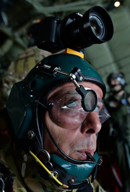 Cpl. Ian Chapman, British army combat engineer, prepares to jump from a C-130J Super Hercules over Bitburg Airfield, Germany, July 26, 2016. International Jump Week was conducted by the U.S. and seven other allied nations. (U.S. Air Force photo/Senior Airman Nesha Humes)