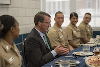Defense Secretary Ash Carter meets with recruit division commanders during a visit to Naval Station Great Lakes in Chicago, July 28, 2016. DoD photo by Air Force Tech. Sgt. Brigitte N. Brantley