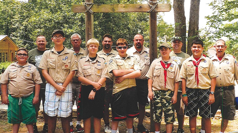Boy Scouts Troop 149 leaders and scouts pose for a group photo June 26, 2016 while camping at Kia Kima Scout Reservation in Hardy, Ark.  Scouts on the trip were Dustin Blanton, Andrew Brock, Jonuthin Howland, James Long, Jacob Owens, and Damian Vance.  Leaders included Jonathan Blanton, Brian Brock, Greg Owens, Dave Robinson, Jim Robinson and David Vance.