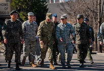 Army Gen. Curtis M. Scaparrotti, commander of U.S. Forces Korea, tours Osan Air Base, South Korea, March 11, 2016. The general discussed his experiences commanding forces in Korea and Europe during a presentation to the Aspen Security Forum in Colorado, July 28, 2016. Air Force photo by Staff Sgt. Nick Wilson