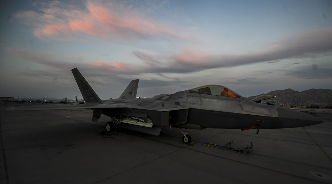 An F-22A Raptor, assigned to the 27th Fighter Squadron, Joint Base Langley-Eustis, Va., sits on the runway during Red Flag 16-3 at Nellis Air Force Base, July 25, 2016. Red Flag is a realistic combat exercise involving multiple military branches conducting training operations on the 15,000 square mile Nevada Test and Training Range. (U.S. Air Force photo by Airman 1st Class Kevin Tanenbaum/Released)