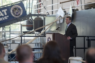 Defense Secretary Ash Carter speaks with troops during a visit to Naval Station Great Lakes in Illinois.