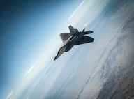 An F-22A Raptor assigned to the 27th Fighter Squadron, Joint Base Langley-Eustis, Virginia, holds pattern and awaits a wingman conducting an aerial refuel during a Red Flag 16-3 training sortie July 22, 2016 at Nellis AFB, Nev.  Various units from around the Air Force, joint branches and coalition partners converge on Nellis three to four times a year to take part in the exercise, which puts to test the participant force's air, space, cyber and combat search and rescue capabilities. (U.S. Air Force photo by Senior Airman Joshua Kleinholz)