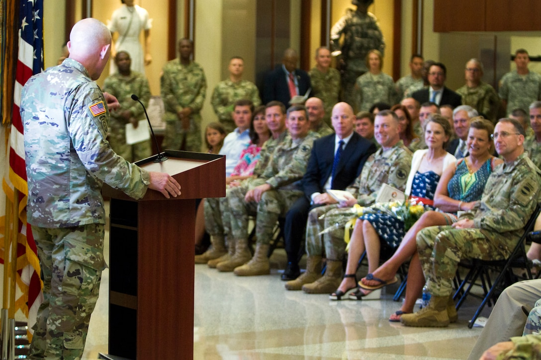 LTG Charles D. Luckey, Commanding General of U.S. Army Reserve Command, talks to military, civilian and community leaders during a welcome ceremony on July 28, 2017 at Fort Bragg's Marshall Hall, home to both U.S. Army Forces Command and USARC headquarters staff. The ceremony was hosted by Gen. Robert B. Abrams, Commanding General of FORSCOM. LTG Luckey was joined by his wife, Julie, at the ceremony, as well as past and present Fort Bragg senior leaders to include LTG Stephen Townsend, Commanding General of the XVIII Airborne Corps & Ft. Bragg and Gen. (Retired) Dan McNeill. LTG Luckey, the 33rd Chief of Army Reserve and 8th Commanding General, U.S. Army Reserve Command, was sworn in June 30, 2016 as the senior leader for nearly 200,000 Army Reserve Soldiers across all 50 states and U.S. territories. (U.S. Army Reserve photo by Master Sgt. Mark Bell / Released)