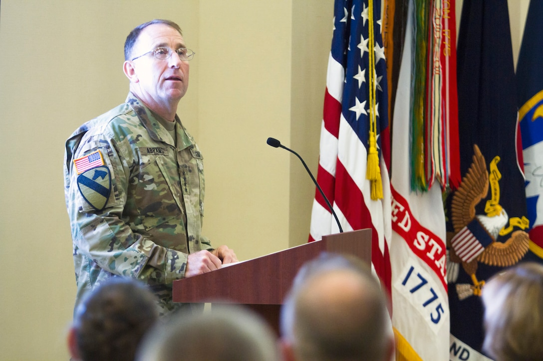 Gen. Robert B. Abrams, Commanding General of U.S. Army Forces Command, talks to military, civilian and community leaders during a welcome ceremony for LTG Charles D. Luckey, Commanding General of U.S. Army Reserve Command, on July 28, 2017 at Fort Bragg's Marshall Hall, home to both FORSCOM and USARC headquarters staff. LTG Luckey was joined by his wife, Julie, at the ceremony, as well as past and present Fort Bragg senior leaders to include LTG Stephen Townsend, Commanding General of the XVIII Airborne Corps & Ft. Bragg and Gen. (Retired) Dan McNeill. LTG Luckey, the 33rd Chief of Army Reserve and 8th Commanding General, U.S. Army Reserve Command, was sworn in June 30, 2016 as the senior leader for nearly 200,000 Army Reserve Soldiers across all 50 states and U.S. territories. (U.S. Army Reserve photo by Master Sgt. Mark Bell / Released)