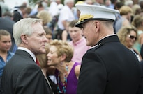 Marine Corps Gen. Joe Dunford, chairman of the Joint Chiefs of Staff, speaks with Navy Secretary Ray Mabus after a naming ceremony for the USS Harvey C. Barnum Jr. at Marine Barracks Washington, D.C., July 28, 2016. DoD photo by Army Sgt. James K. McCann