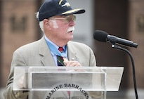 Retired Marine Corps Col. Harvey Barnum, a Vietnam War veteran and Medal of Honor recipient, delivers remarks during a ceremony to name a ship in his honor at Marine Barracks Washington, D.C., July 28, 2016. The USS Harvey C. Barnum Jr. will be an Arleigh Burke-class guided-missile destroyer. DoD photo by Army Sgt. James K. McCann
