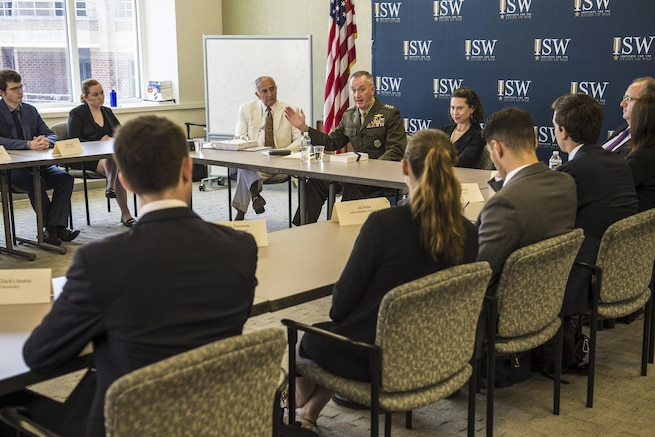 Marine Corps Gen. Joe Dunford, chairman of the Joint Chiefs of Staff, speaks to students of the Institute for the Study of War's Hertog War Studies Program in Washington, D.C., July 28, 2016. Undergraduate students learn about the theory, practice, organization and control of war. DoD photo by Army Sgt. James K. McCann