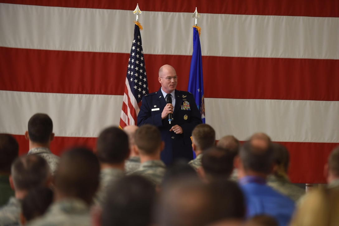 Col. Troy Endicott, 21st Operations Group commander, addresses members in attendance during an assumption of command ceremony, July 22, 2016, Vandenberg Air Force Base, Calif. Lt. Col. Scott Putnam, 18th Space Control Squadron commander, assumed command of the 18th SPCS, the newest space surveillance unit that will fall under the 21st Space Wing.