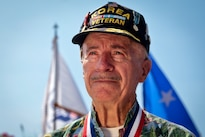 Navy veteran Philip Difabio attends a National Korean War Veterans Armistice Day ceremony at the New Jersey Korean Veterans War Memorial in Brighton Park, Atlantic City, N.J., July 27, 2016. Difabio served during the Korean War, from 1952 to 1954. The armistice to end the war was signed on July 27, 1953. Air National Guard photo by Tech. Sgt. Matt Hecht