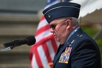 Air Force Brig. Gen. Michael Cunniff, New Jersey National Guard Adjutant General, makes remarks during the National Korean War Veterans Armistice Day ceremony at the New Jersey Korean Veterans War Memorial in Brighton Park, Atlantic City, N.J., July 27, 2016. Air National Guard photo by Tech. Sgt. Matt Hecht