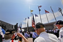 Korean War veterans render honors as a wreath is placed at a monument during the National Korean War Veterans Armistice Day ceremony in Atlantic City, N.J., July 27, 2016. Air National Guard photo by Tech. Sgt. Matt Hecht