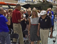 "Lt. Col. (ret.) Richard ""Dick"" Cole enters the U.S. Air Force Armament Museum on Eglin Air Force Base, Fla., July 30, 2016. Cole assited in dedicating the newly remodeled Doolittle Raider's exhibit. (U.S. Air Force photo/Staff Sgt. Melanie Holochwost)"