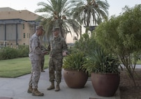 Marine Corps Gen. Joe Dunford, chairman of the Joint Chiefs of Staff, and Army Lt. Gen. Sean MacFarland, commander of Combined Joint Task Force Operation Inherent Resolve, meet in Baghdad, July 30, 2016. DoD photo by Navy Petty Officer 2nd Class Dominique A. Pineiro