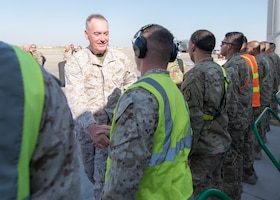 Marine Corps Gen. Joe Dunford, chairman of the Joint Chiefs of Staff, speaks to service members after arriving at Baghdad International Airport, July 30th, 2016. DoD Photo by Navy Petty Officer 2nd Class Dominique A. Pineiro