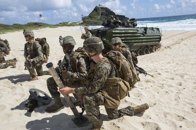 U.S. Marines with Company E, Battalion Landing Team 2nd Battalion, 3rd Marine Regiment, assault a beach during Rim of the Pacific 2016.  The assault was launched from USS San Diego and commanded by III Marine Expeditionary Force units aboard USS America. Twenty-six nations, more than 40 ships and submarines, more than 200 aircraft and 25,000 personnel are participating in RIMPAC from June 30 to Aug. 4, in and around the Hawaiian Islands and Southern California. The world's largest international maritime exercise, RIMPAC provides a unique training opportunity that helps participants foster and sustain the cooperative relationships that are critical to ensuring the safety of sea lanes and security in the world's oceans. RIMPAC 2016 is the 25th exercise in the series that began in 1971. (U.S. Marine Corps photo by Lance Cpl. Matthew Casbarro)