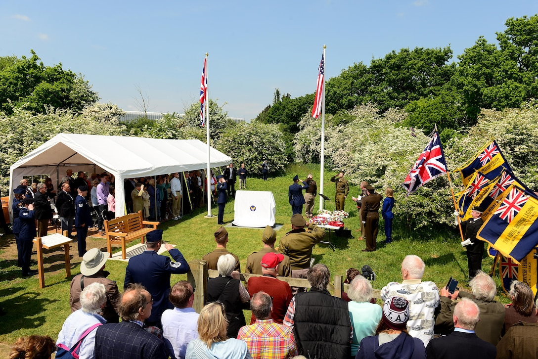 Over 100 attendees gathered to witness the unveiling of the 490th Bombardment Group Memorial, May 29, in the village of Brome, England. The ceremony was the culmination of a two-year effort by a small group of UK citizens from the Eye area of Suffolk to create a permanent monument dedicated to the men of the 490th for their contributions during World War II. (U.S. Air Force photo/ Tech Sgt. Matthew Plew)