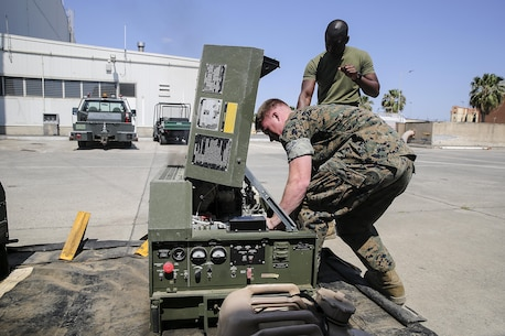 Cpl. Ethan Johnson, an electronic equipment repair specialist with Special Purpose Marine Air-Ground Task Force Crisis Response-Africa, starts a generator to supply power to the flightline medical team at Naval Air Station Sigonella, Italy, May 24, 2016. The Naval Forward Resuscitative Surgical System-Shock Trauma Platoon partnered with Marines during the drill to ensure readiness in the event of receiving a casualty. (U.S. Marine Corps photo by 1st Lt. Eric Abrams/released)