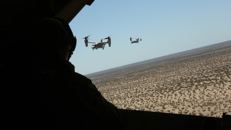 """A Marine with Marine Medium Tiltrotor Squadron (VMM) 364 """"Purple Foxes"""" checks the rear of an MV-22B Osprey during section and division confined area landings at Holtville Airfield, Calif., May 20. The training was conducted to familiarize both pilots and crew chiefs with landing in a small area around other aircraft."""