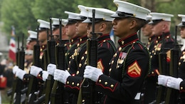 Marines from 6th Marine Regiment, 2nd Marine Division perform a rifle salute during a Memorial Day ceremony performed alongside the French Army at the Aisne-Marne American Memorial Cemetery in Belleau, France, May 29, 2016. The French and the Americans gathered together, as they do every year, to honor those service members from both countries who have fallen in WWI, Belleau Wood and throughout history, fighting side by side. The Marines also remembered those they lost in the Battle of Belleau Wood 98 years ago.