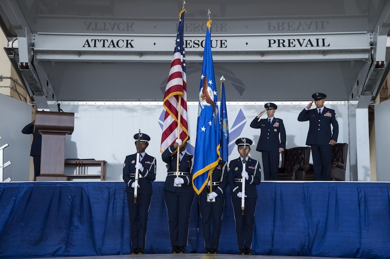 Moody honor guardsmen present the colors during the retirement of U.S. Air Force Chief Master Sgt. David Kelch, 23d Wing command chief, at Moody Air Force Base, Ga., May 26, 2016. Kelch, who has served as the 23d WG's command chief since July of 2014, retired after 29 years and seven months of military service. (U.S. Air Force photo by Janiqua P. Robinson/Released)