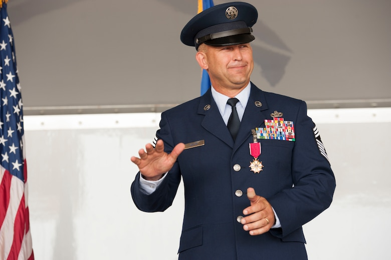 U.S. Air Force Chief Master Sgt. David Kelch, 23d Wing command chief, thanks the men and women of the 23d WG during his retirement ceremony at Moody Air Force Base, Ga., May 26, 2016. Kelch, who has served as the 23d WG command chief since July of 2014, retired after 29 years and seven months of military service. (U.S. Air Force photo by Andrea Jenkins/Released)