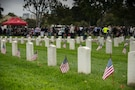 Hundreds of veterans, patriots, and family members join to remember those who never returned from war at a moving Memorial Day ceremony at the Los Angeles National Cemetery, Los Angeles, Calif., May 30, 2016.
